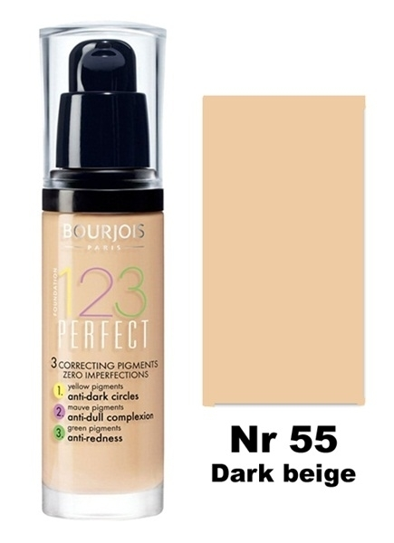 BOURJOIS 123 Perfect Foundation Podkład 55 Dark Beige 30 ml